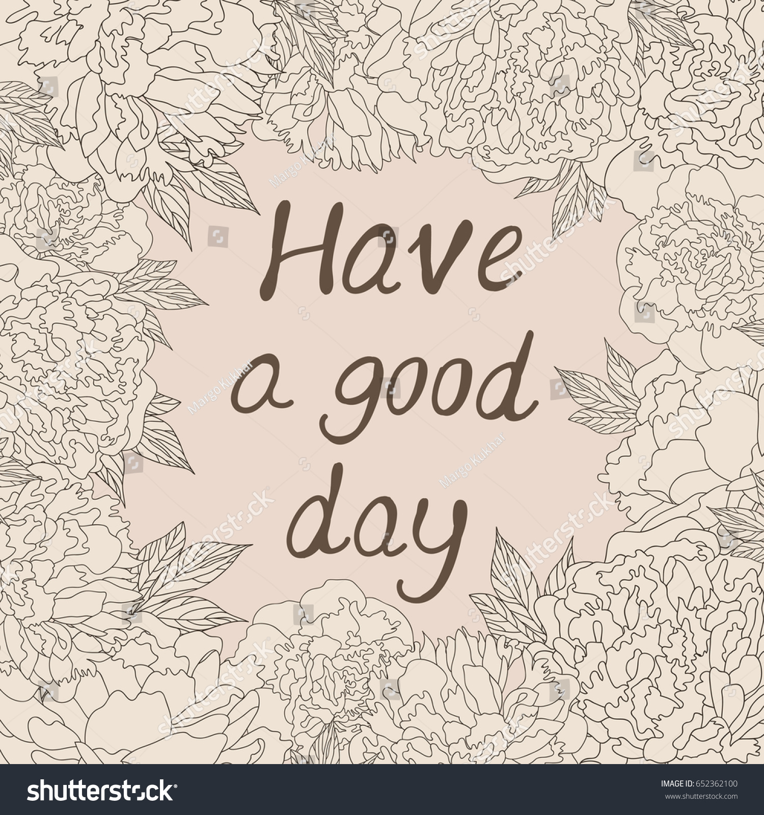 Have good day greeting card hand stock vector 652362100 shutterstock have a good day greeting card hand drawing peonies and lettering typography element for kristyandbryce Gallery