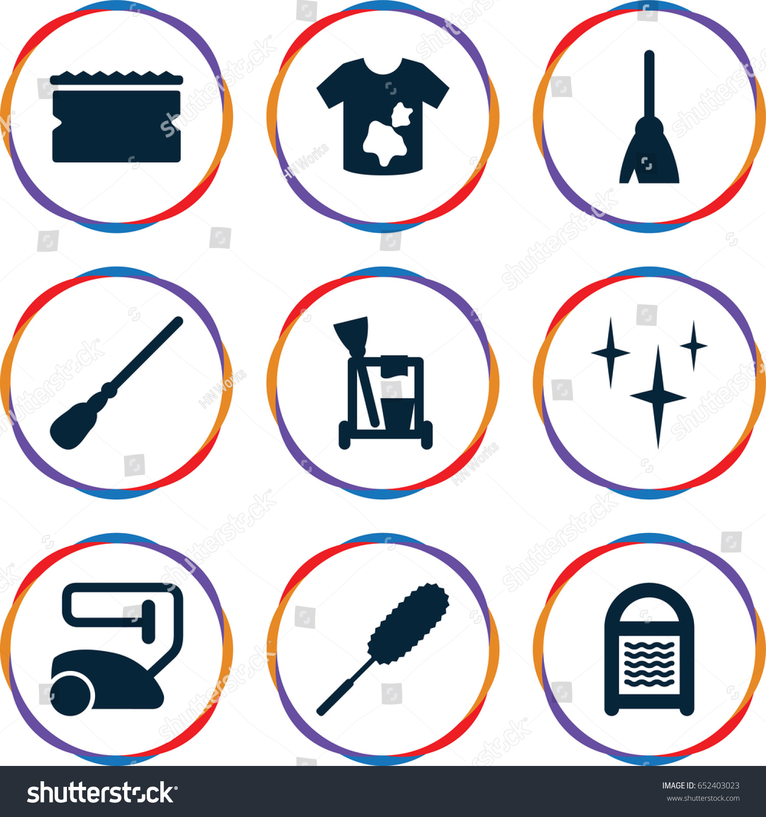 Cleaner icons set set of 9 cleaner filled icons such as cleaning tools broom