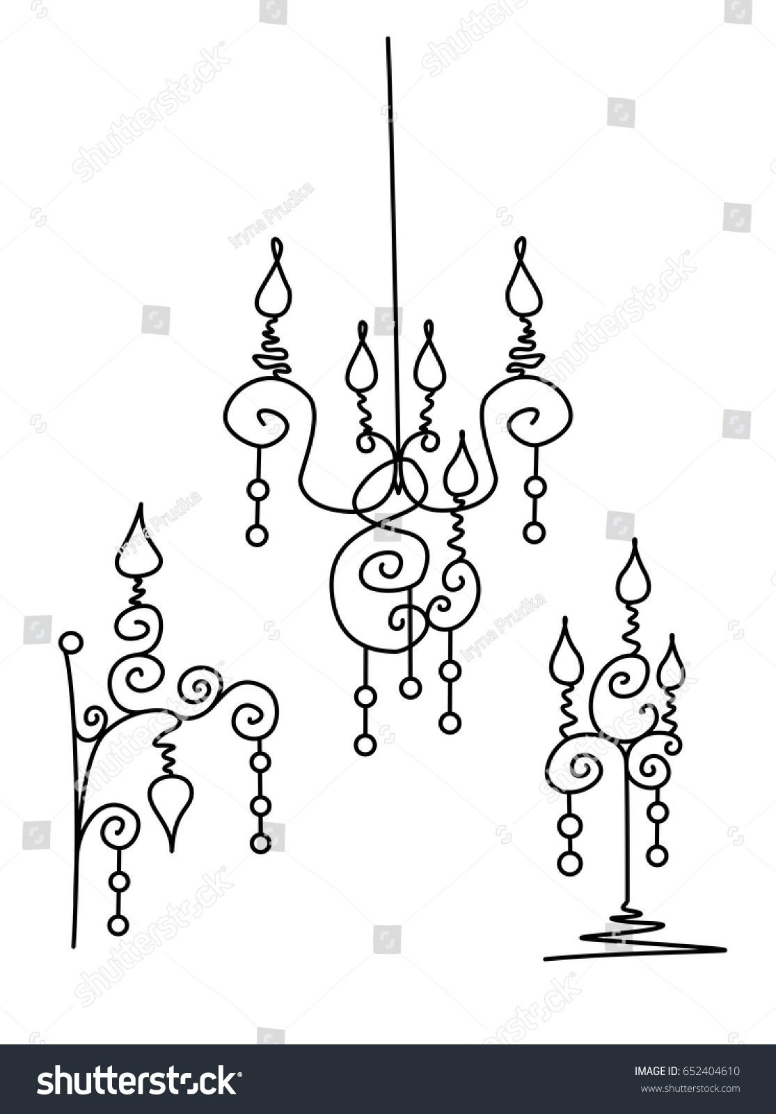 Vector Silhouette Of Hand Drawn Classy Chandelier Floor Lamp And Wall Set In Black