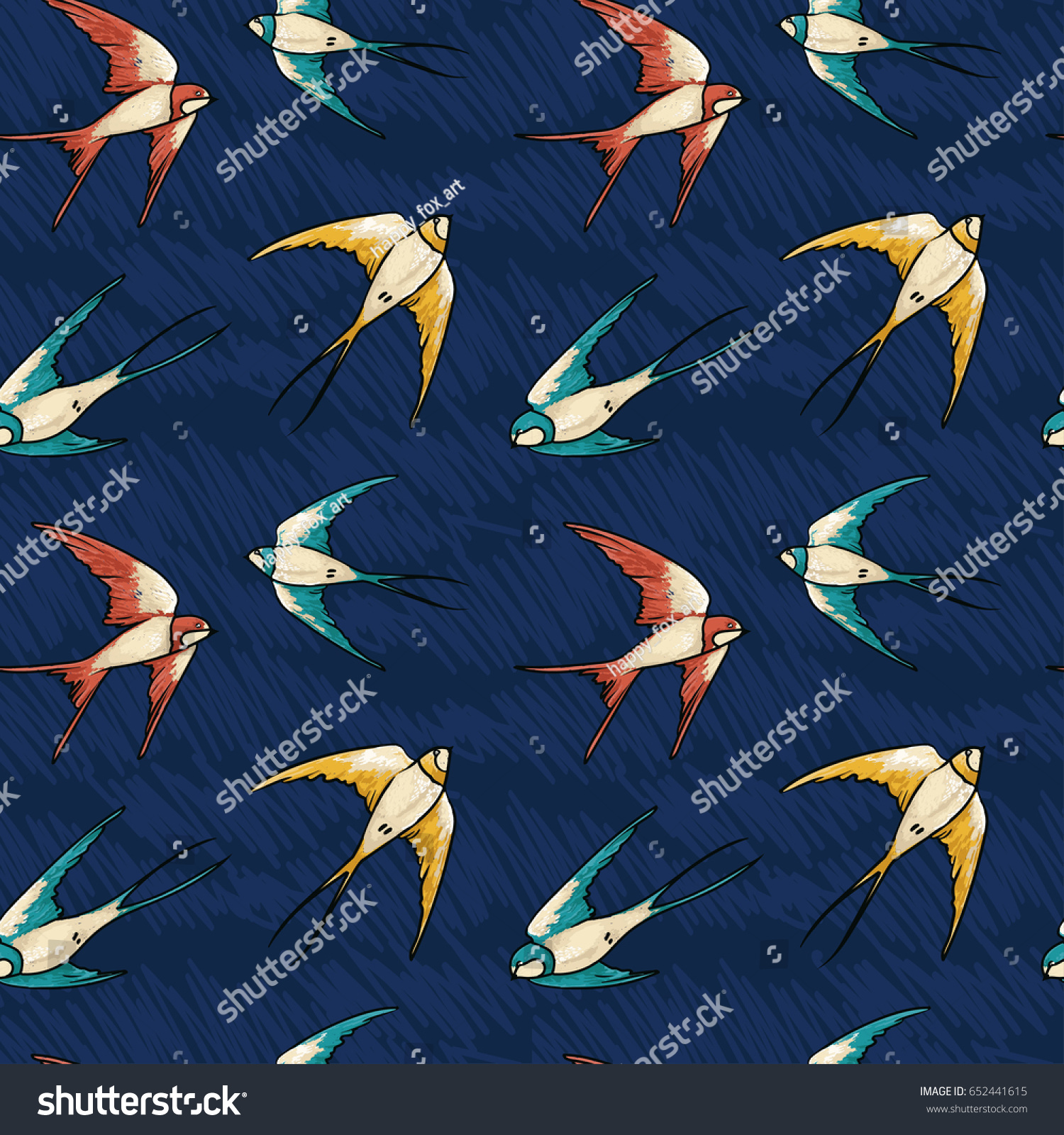 Set of sketches of flying swallows stock vector illustration - Seamless Pattern With Flying Colorful Swallows On Deep Blue Sky Sketch Style Vector Illustration