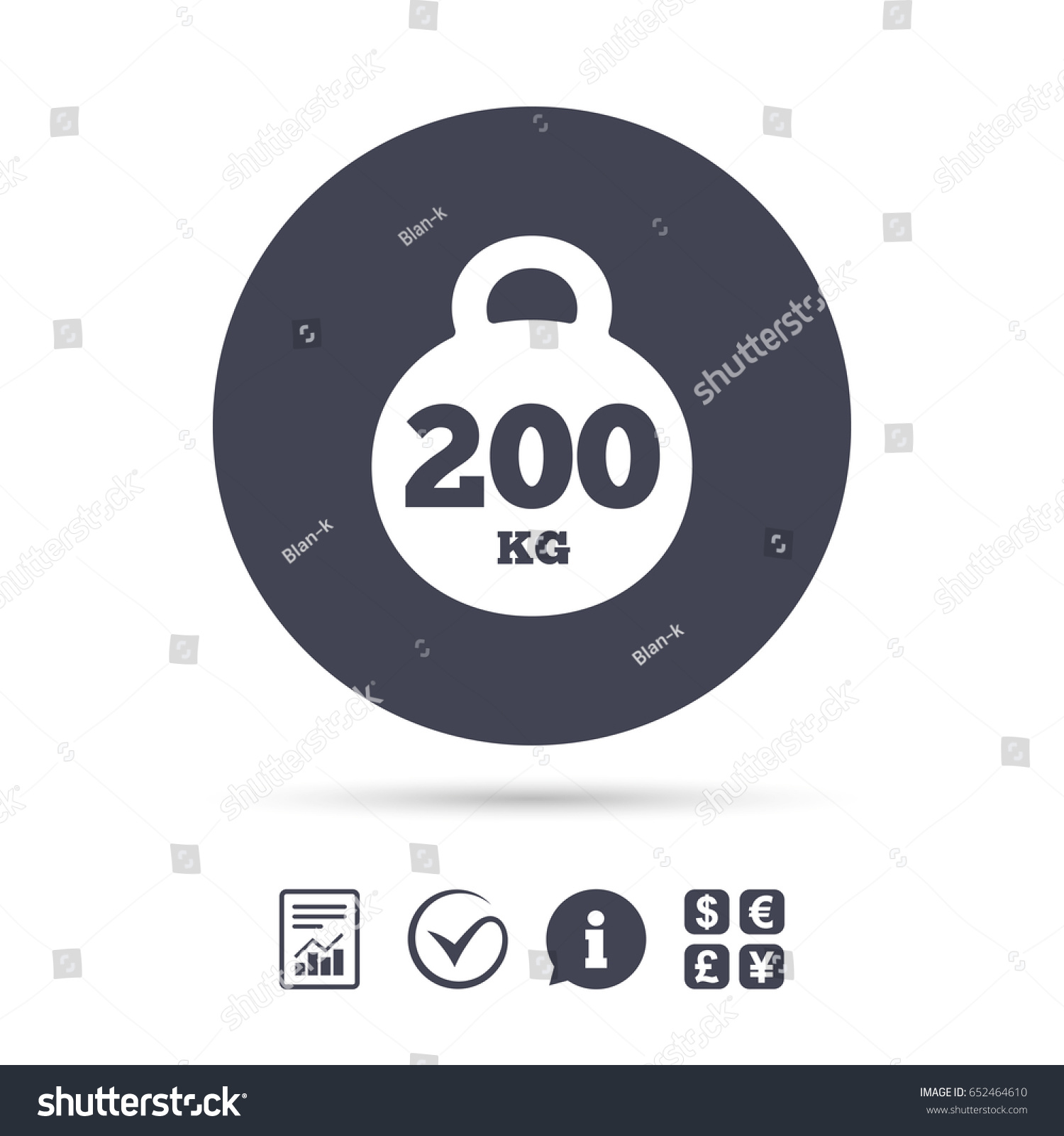Weight Sign Icon 200 Kilogram Kg Stock Vector 652464610 Shutterstock