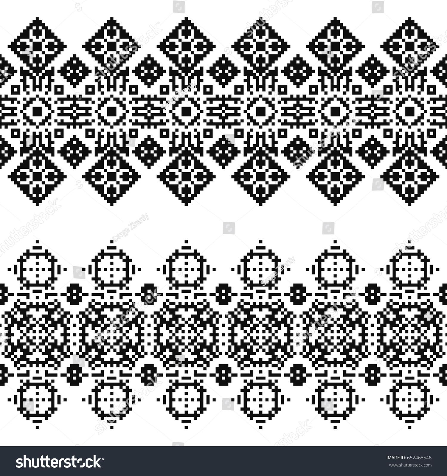 Ethnic geometric pattern. Black and white seamless background. Pixel boho  ornament. Tribal borders