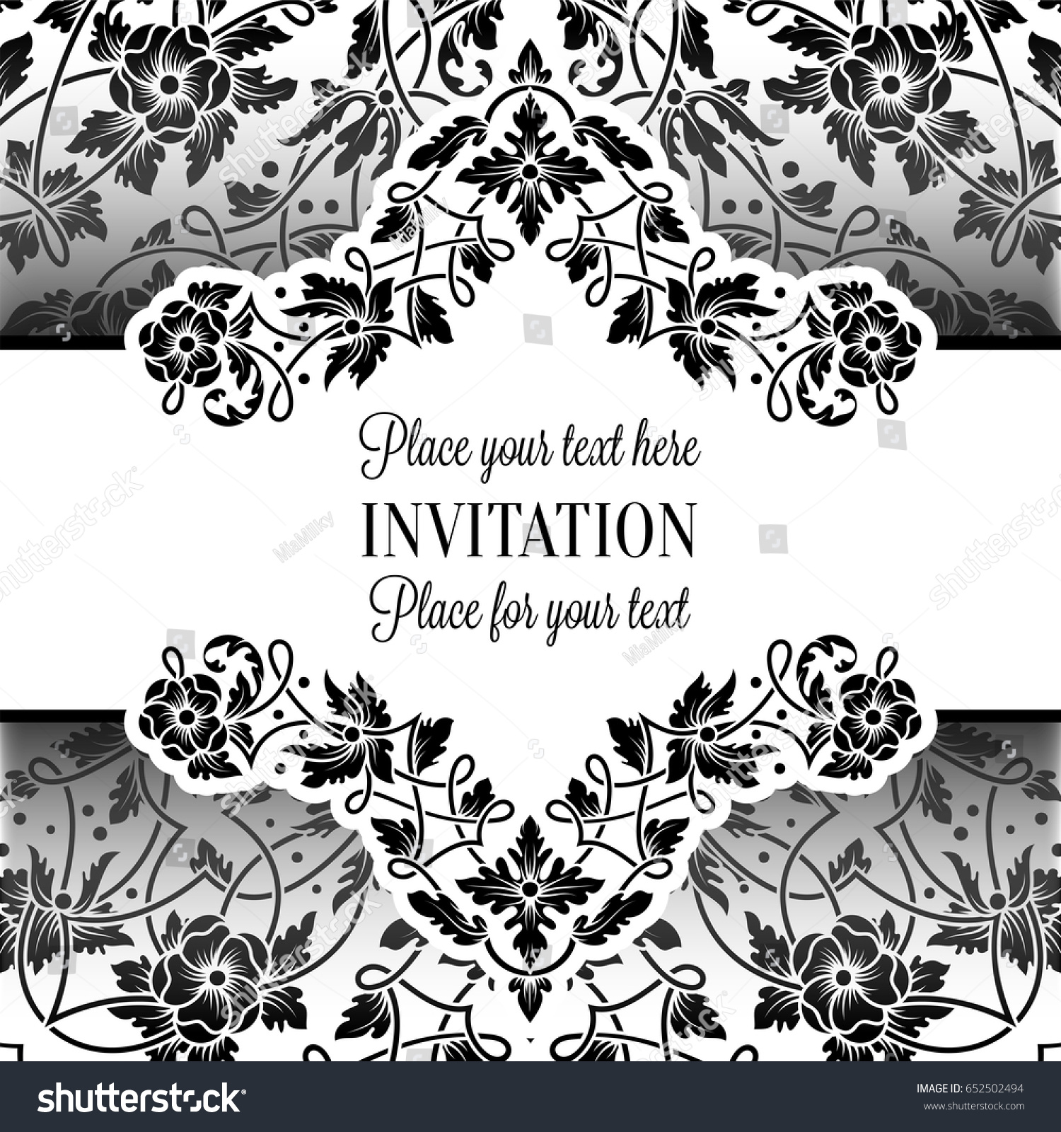 Floral Invitation Card With Antique Luxury Black And White Vintage Frame Ornamental Lacy Background