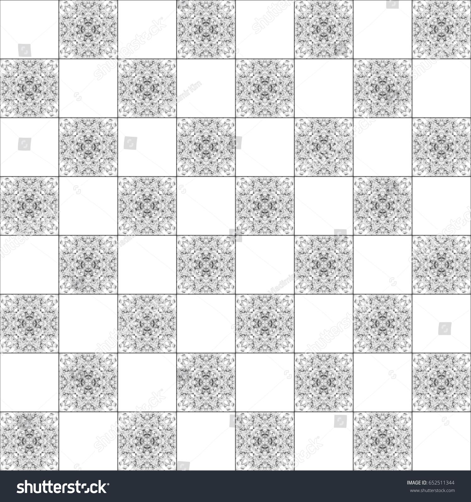 Black White Chessboard Pattern Textile Ceramic Stock Illustration