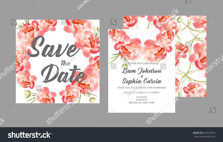 Wedding Suite Template Flowers Trendy Design Stock Vector