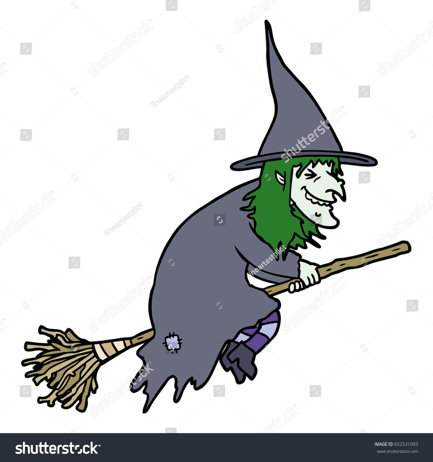 cartoon witch on broom stock vector 652531093 shutterstock