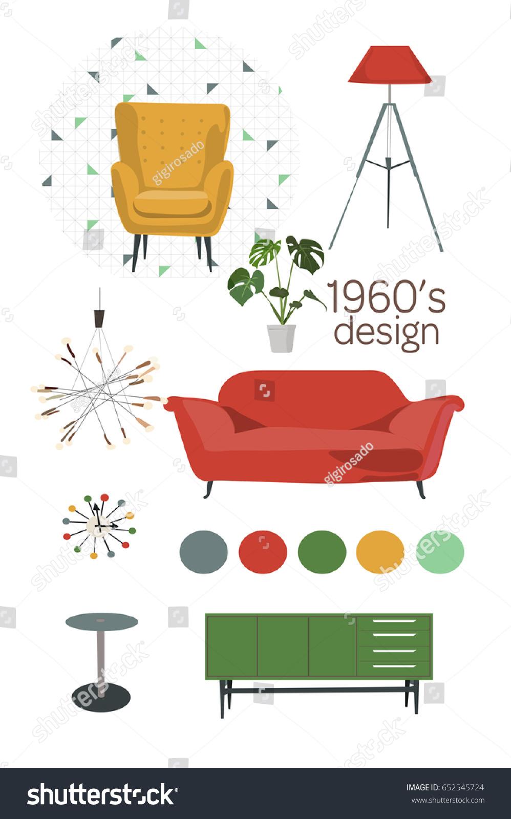 Mid century modern furniture set vector living room 1960 1950 retro vintage interior design elements home mood board vector