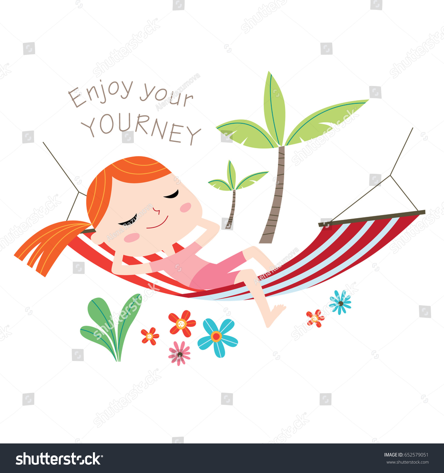 Enjoy Your Journey Greeting Card Vector Stock Vector Royalty Free