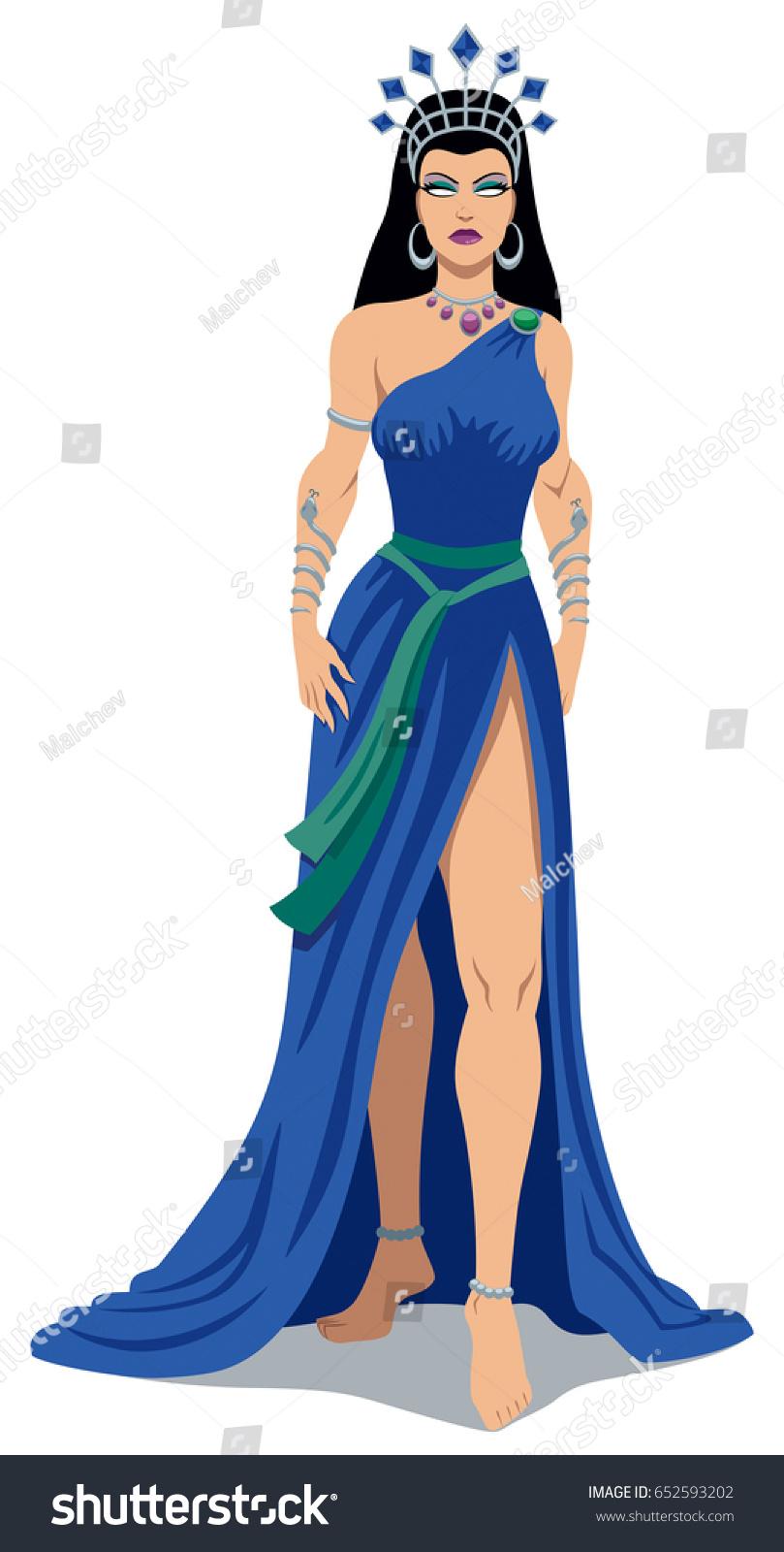 illustration greek goddess hera over white stock vector 652593202