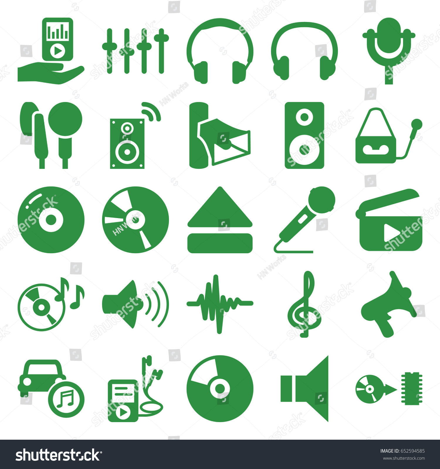 Audio Icons Set Set 25 Audio Stock Vector (Royalty Free