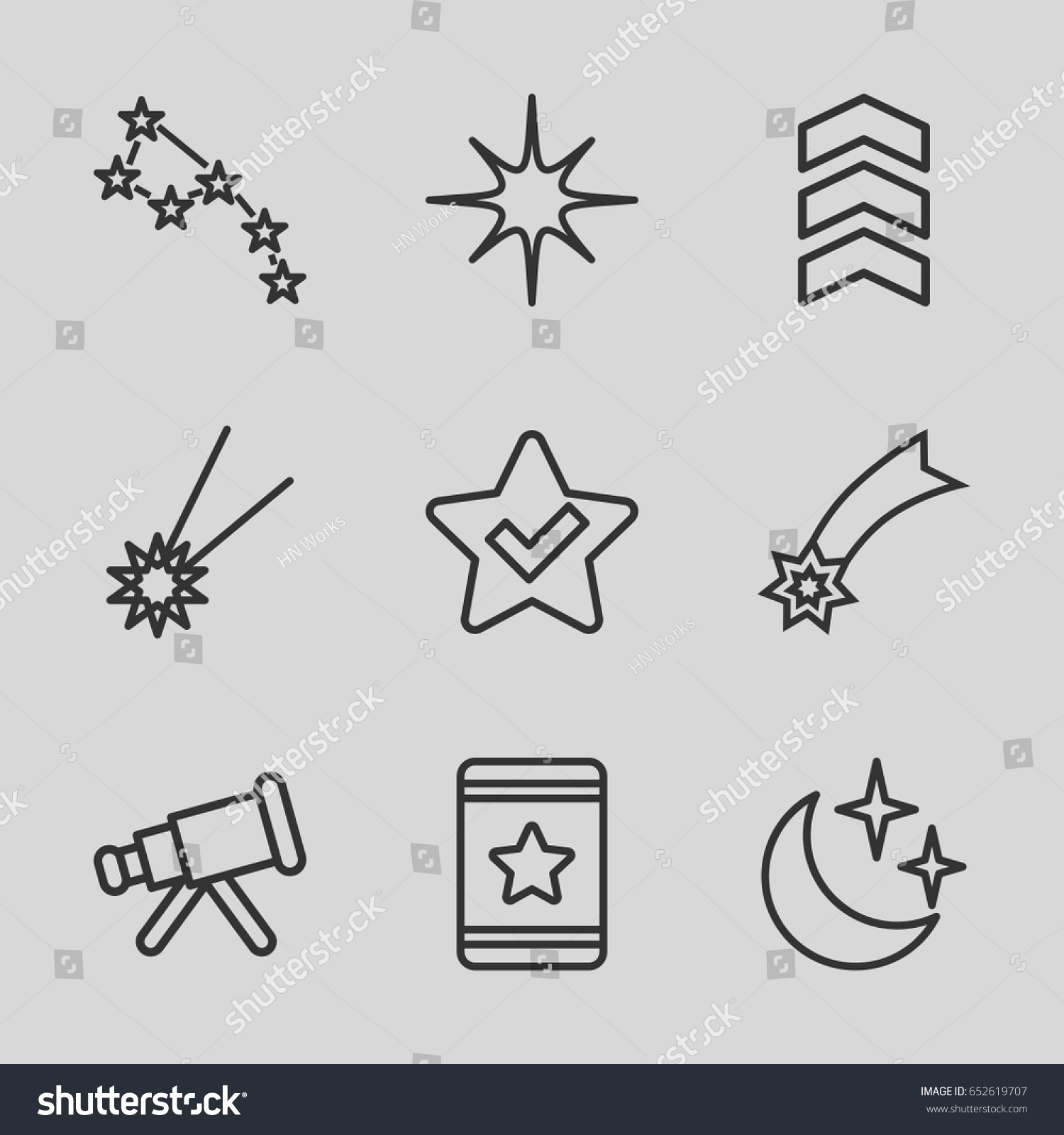 Stars icons set set 9 stars stock vector 652619707 shutterstock stars icons set set of 9 stars outline icons such as star moon and sciox Gallery
