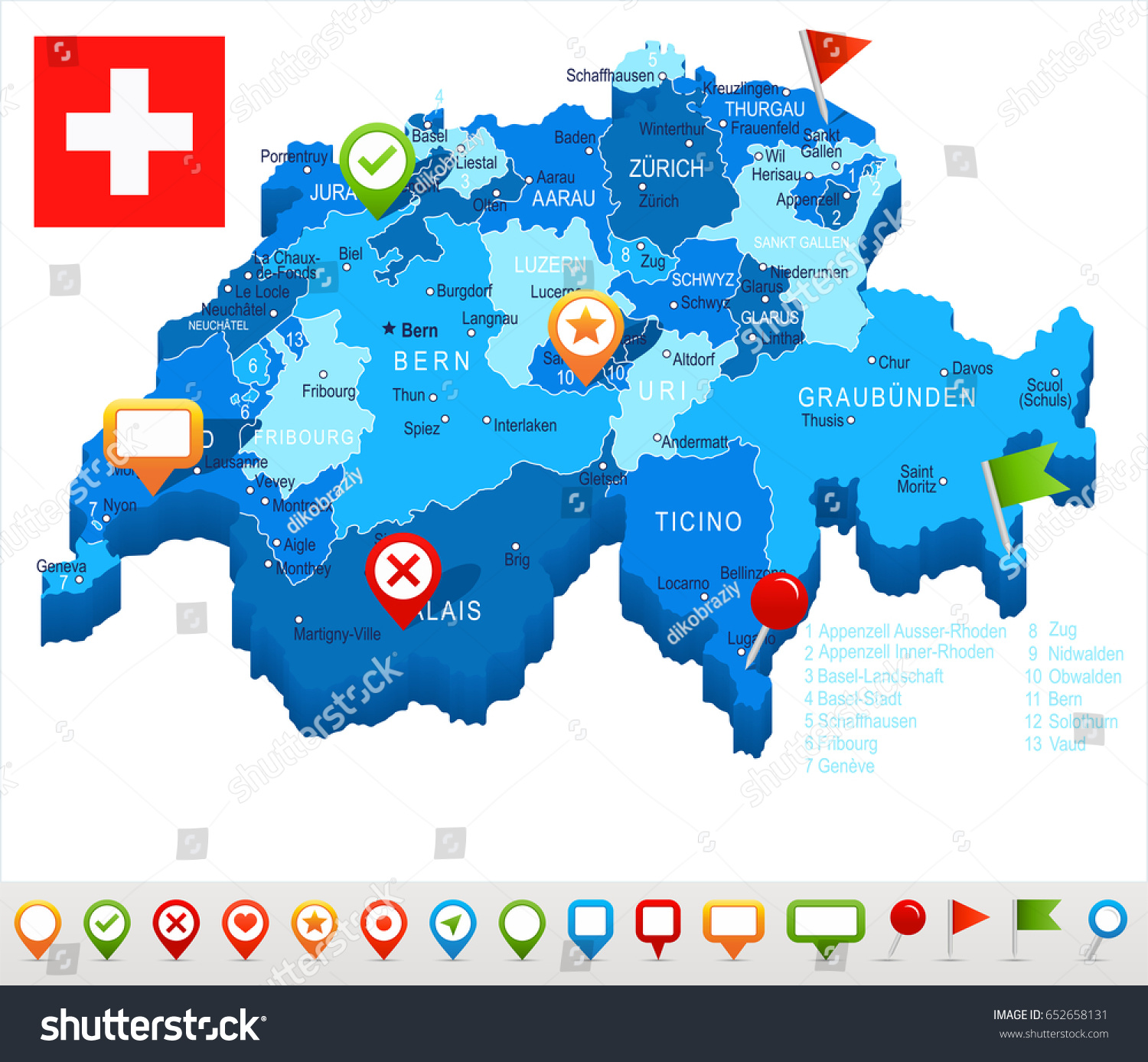 Switzerland Map Flag Highly Detailed Vector Stock Vector 652658131