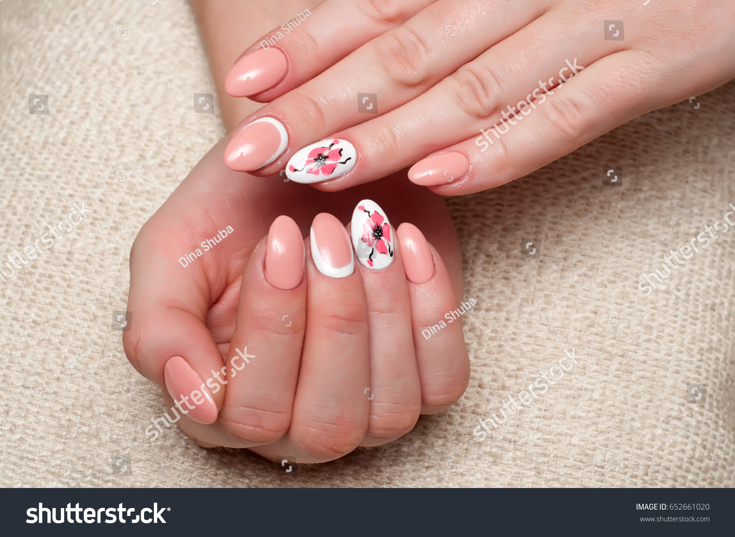Pink Manicure Long Pointed Nails Manicure Stock Photo (Download Now ...