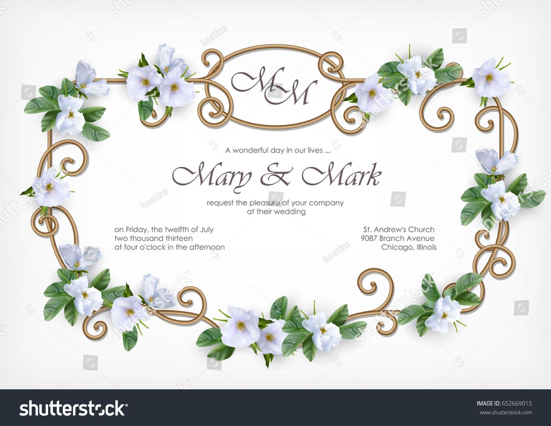 Wedding Invitation Card Decorative Golden Frame Stock Vector HD ...