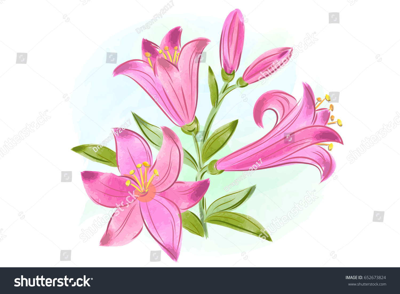 Watercolor Lily Flower Ez Canvas
