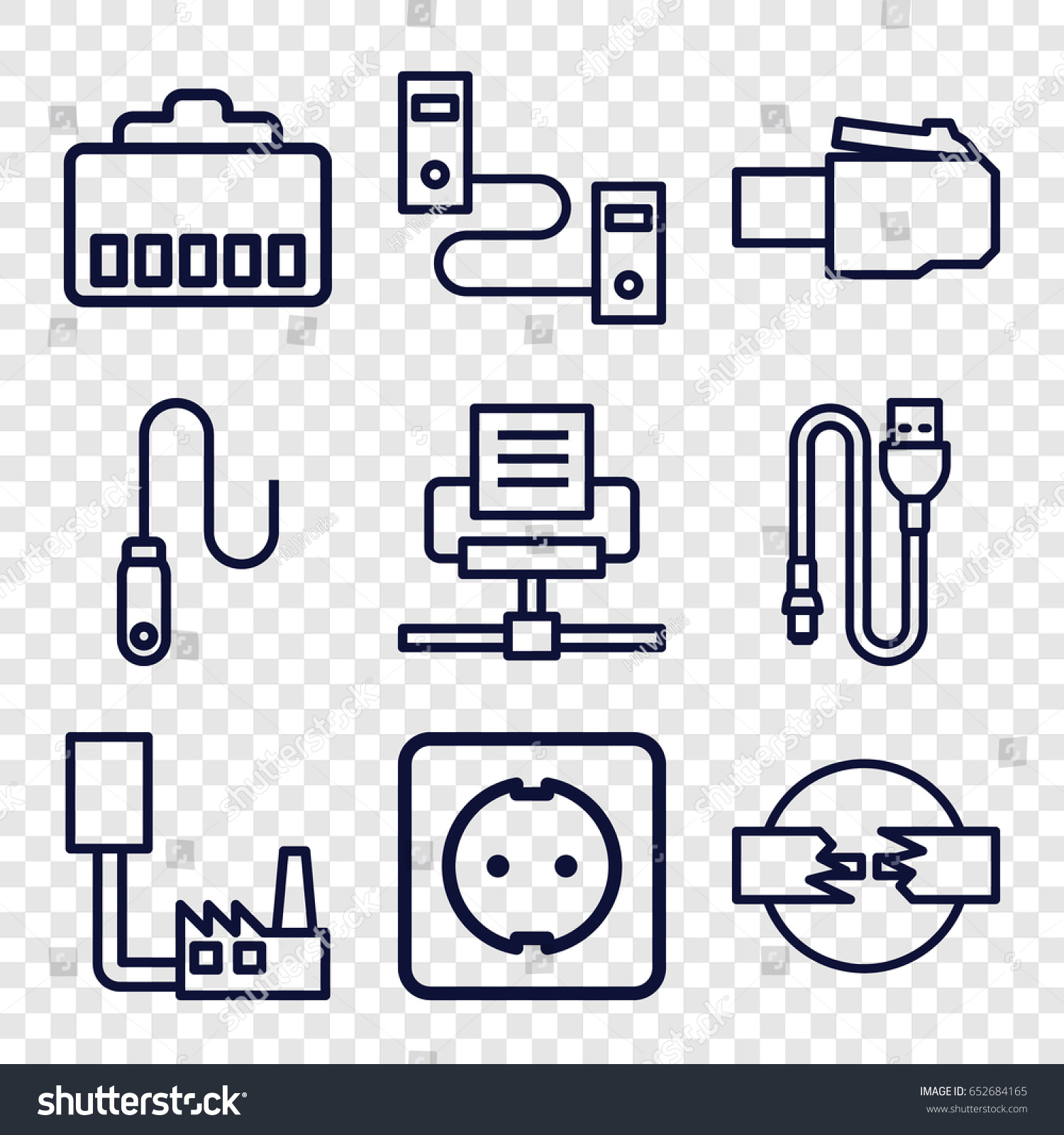 Connector Icons Set 9 Stock Vector Royalty Free Telephone Wiring Diagram On Extension Sockets Of Outline Such As Wire Plug Socket