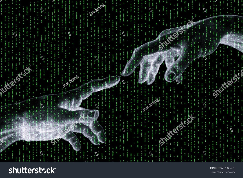 2 touching fingers symbol connection communication stock photo 2 touching fingers the symbol of connection communication with the falling green rain matrix biocorpaavc