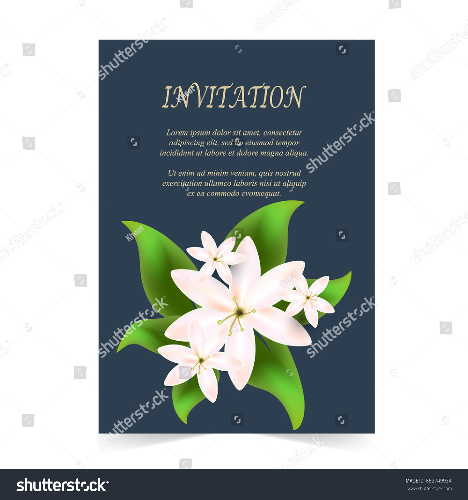 Invitation Card Wedding Card White Flowers Stock Vector Royalty