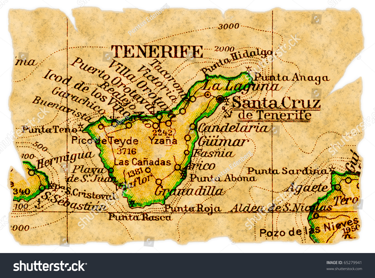 Tenerife Canary Islands On Old Torn Stock Photo - Tenerife on a world map