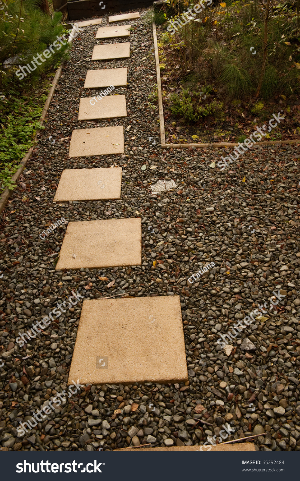 Stepping Stones Path Garden Stock Photo (Royalty Free) 65292484 ...