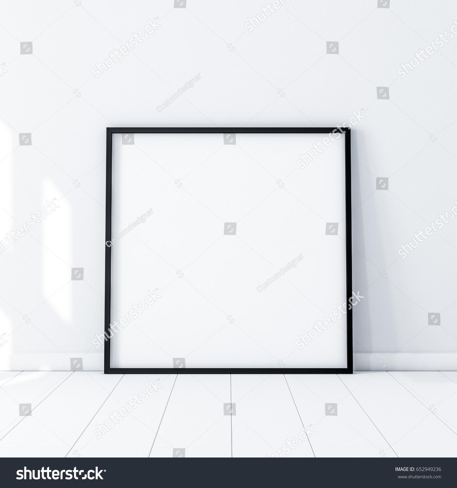 Square Poster Black Frame Mockup Standing Stockillustration ...