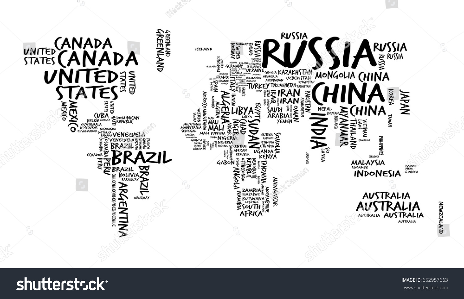 World map countries name text typography vector de stock652957663 world map with countries name text or typography hand drawn sketch style gumiabroncs Image collections
