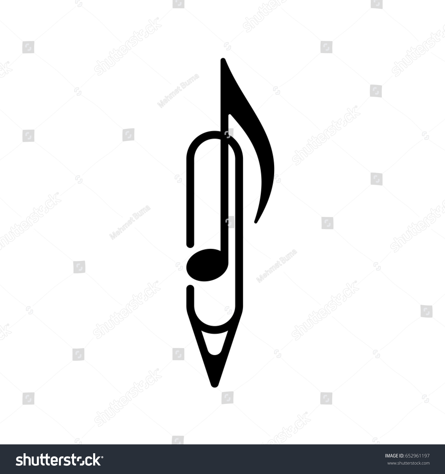 logo design music note pen paper stock vector 652961197 shutterstock