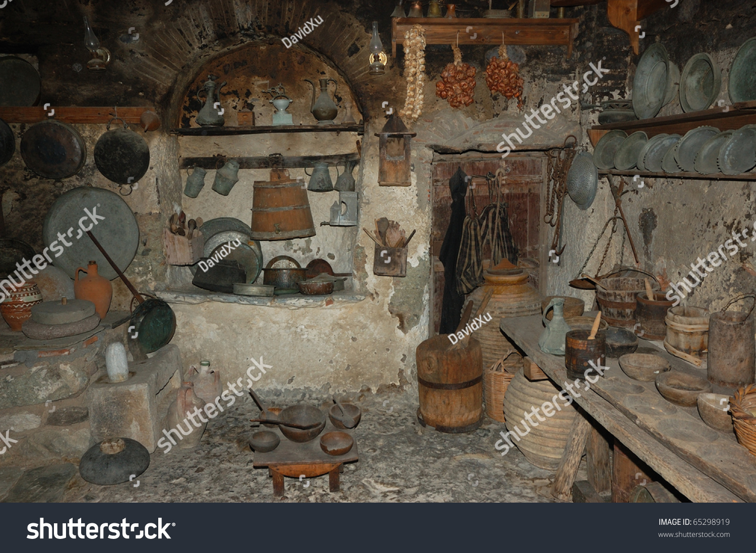 Old Traditional Kitchen In Monastery Meteora Greece