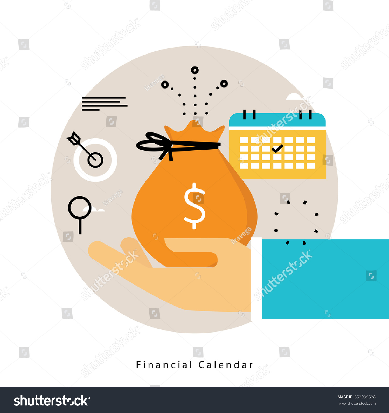 financial calendar monthly budget planning flat のベクター画像素材