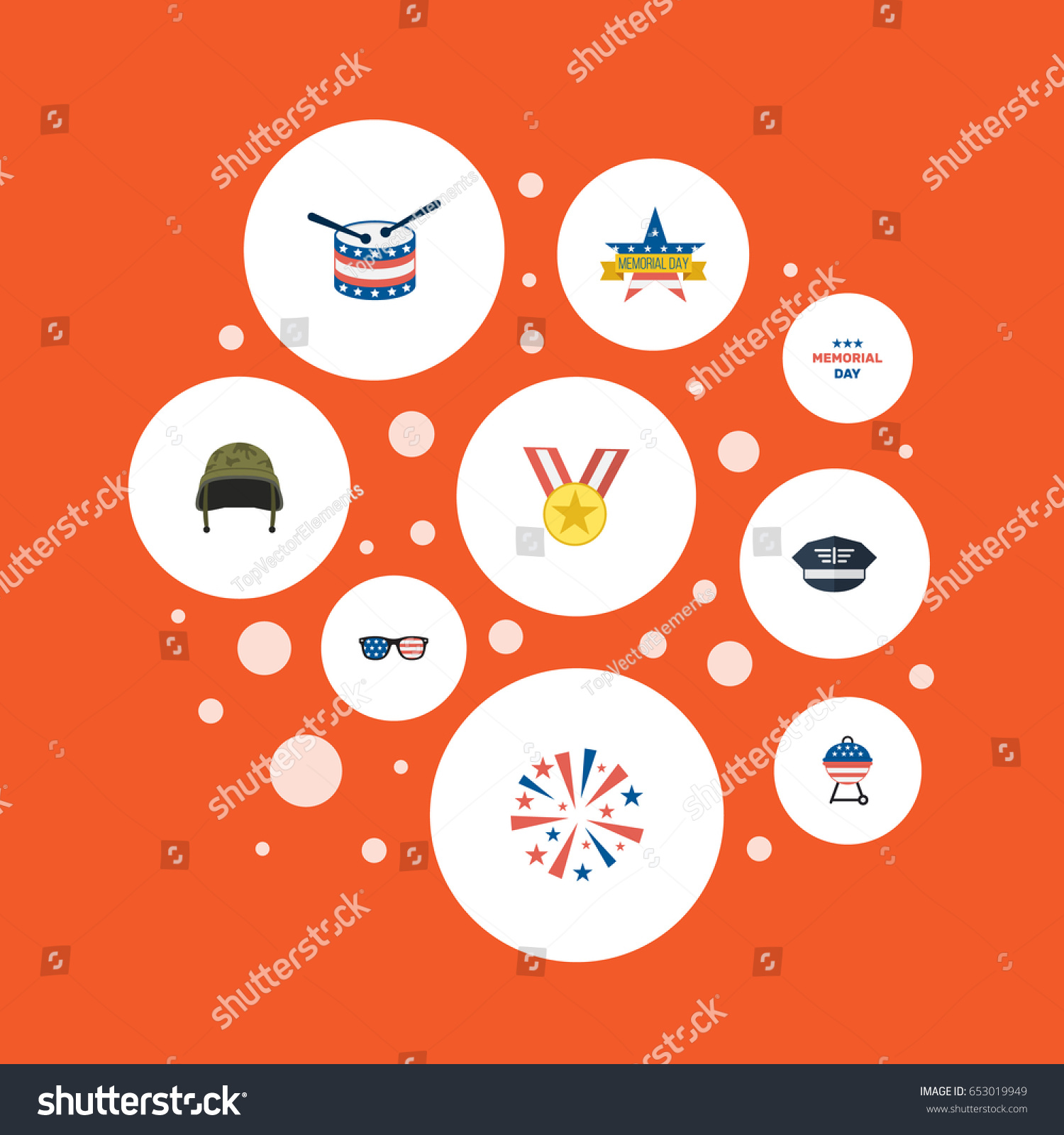 Flat Firecracker Barbecue Memorial Day Other Stock Vector 653019949