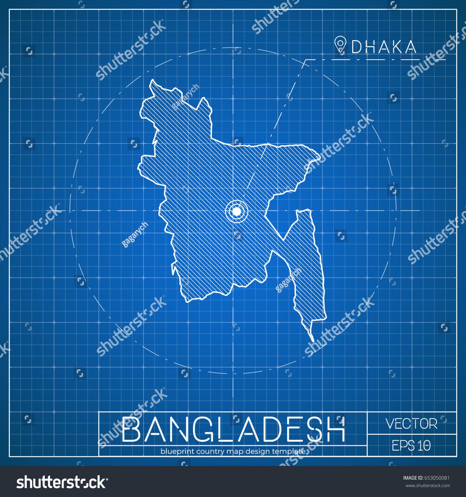 Bangladesh blueprint map template capital city stock vector royalty bangladesh blueprint map template with capital city dhaka marked on blueprint bangladeshi map vector malvernweather Images