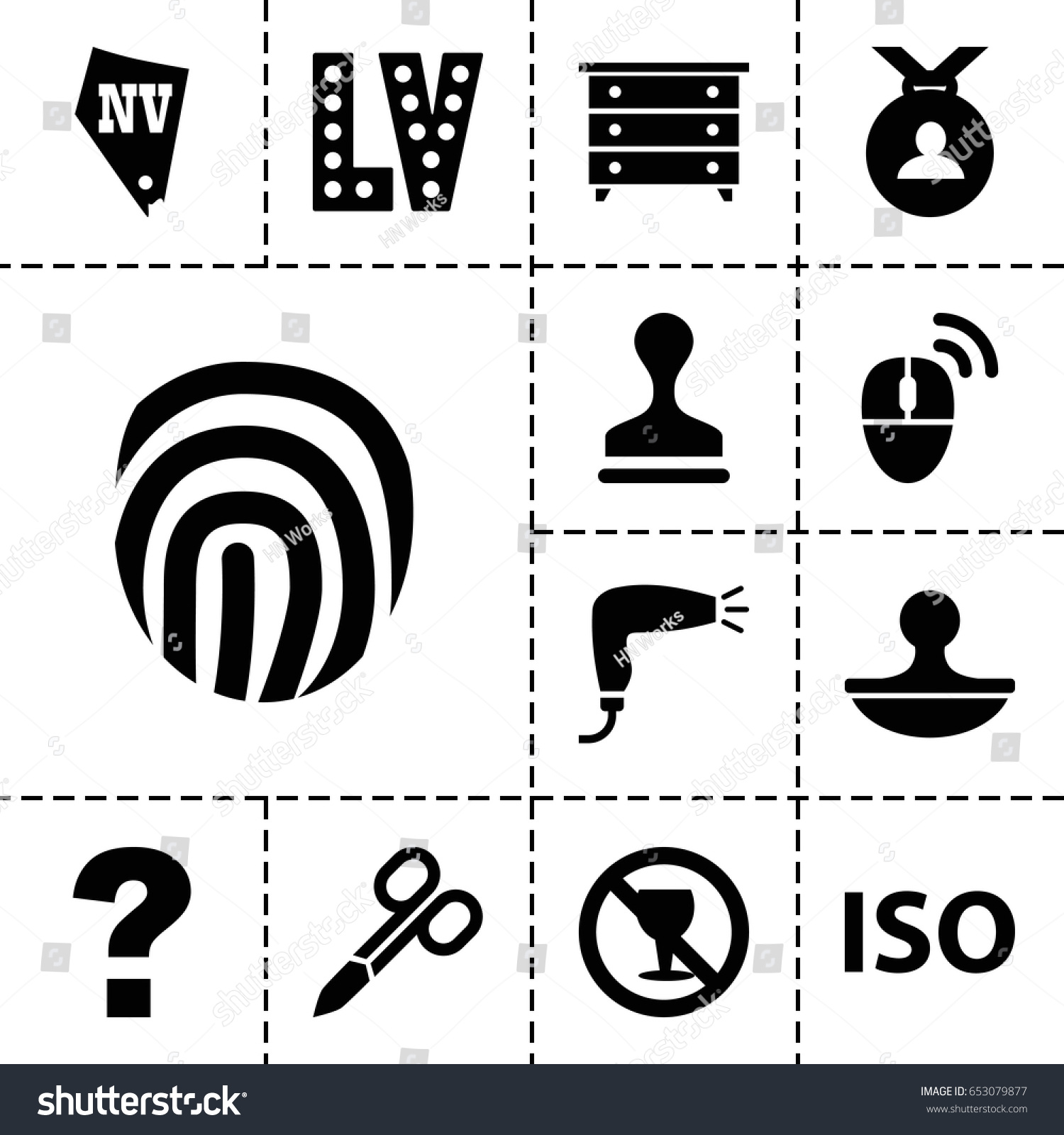 Icons such nightstand manicure scissors hair stock vector icons such as nightstand manicure scissors hair dryer vegas medal stamp biocorpaavc Choice Image