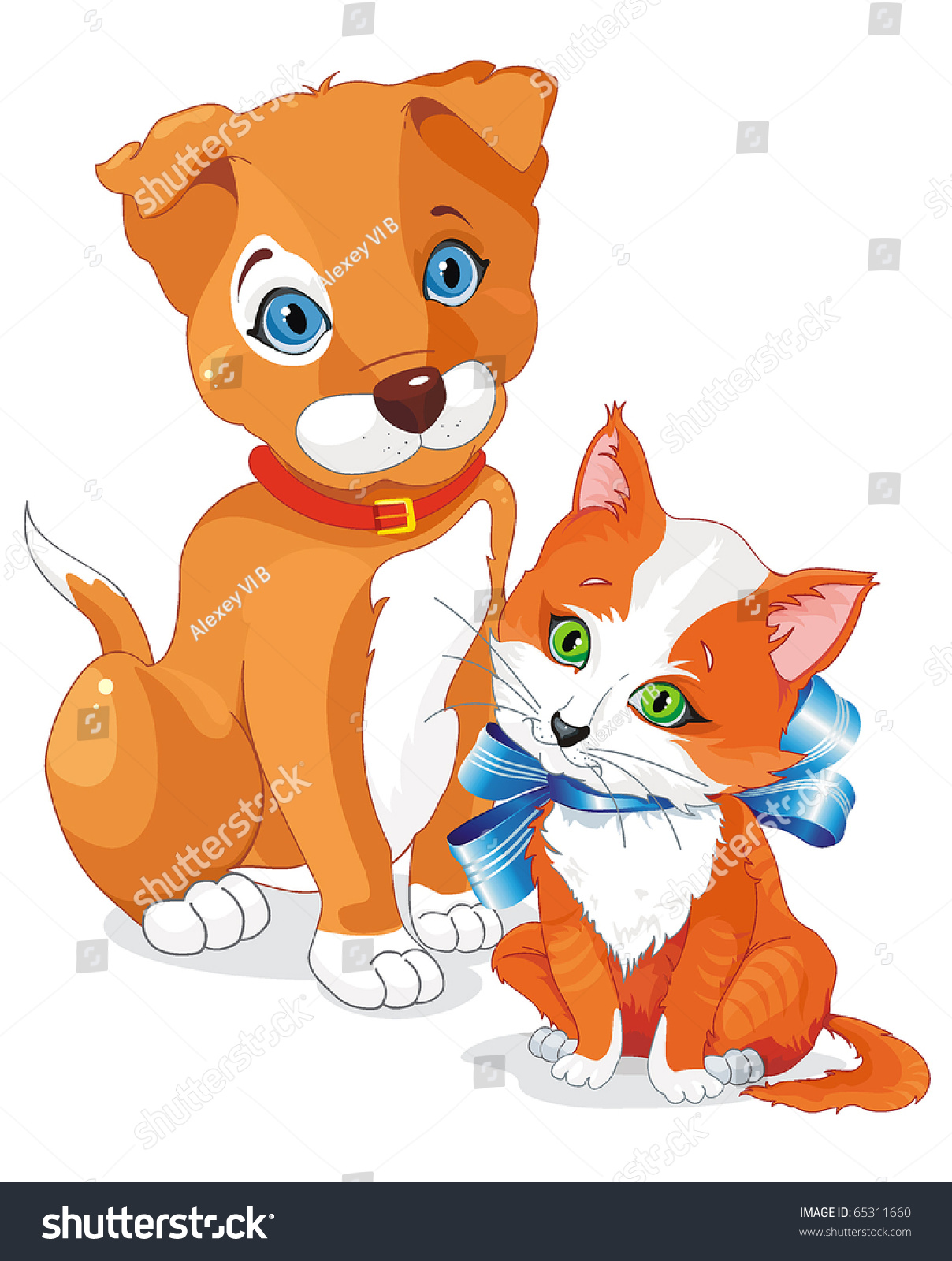 Cute Cartoon Dog Cat Puppy Kitten Stock Vector 65311660 - Shutterstock