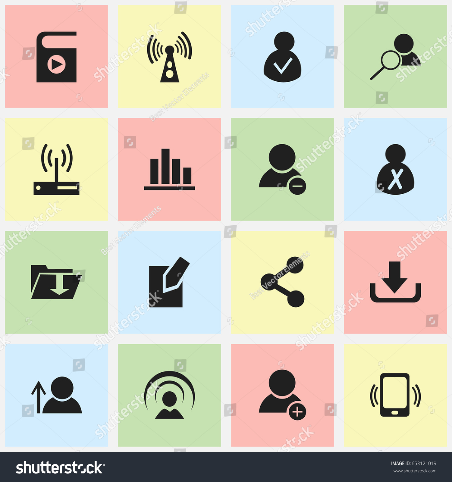 Set 16 editable internet icons includes stock vector 653121019 set of 16 editable internet icons includes symbols such as dossier wireless transmission biocorpaavc