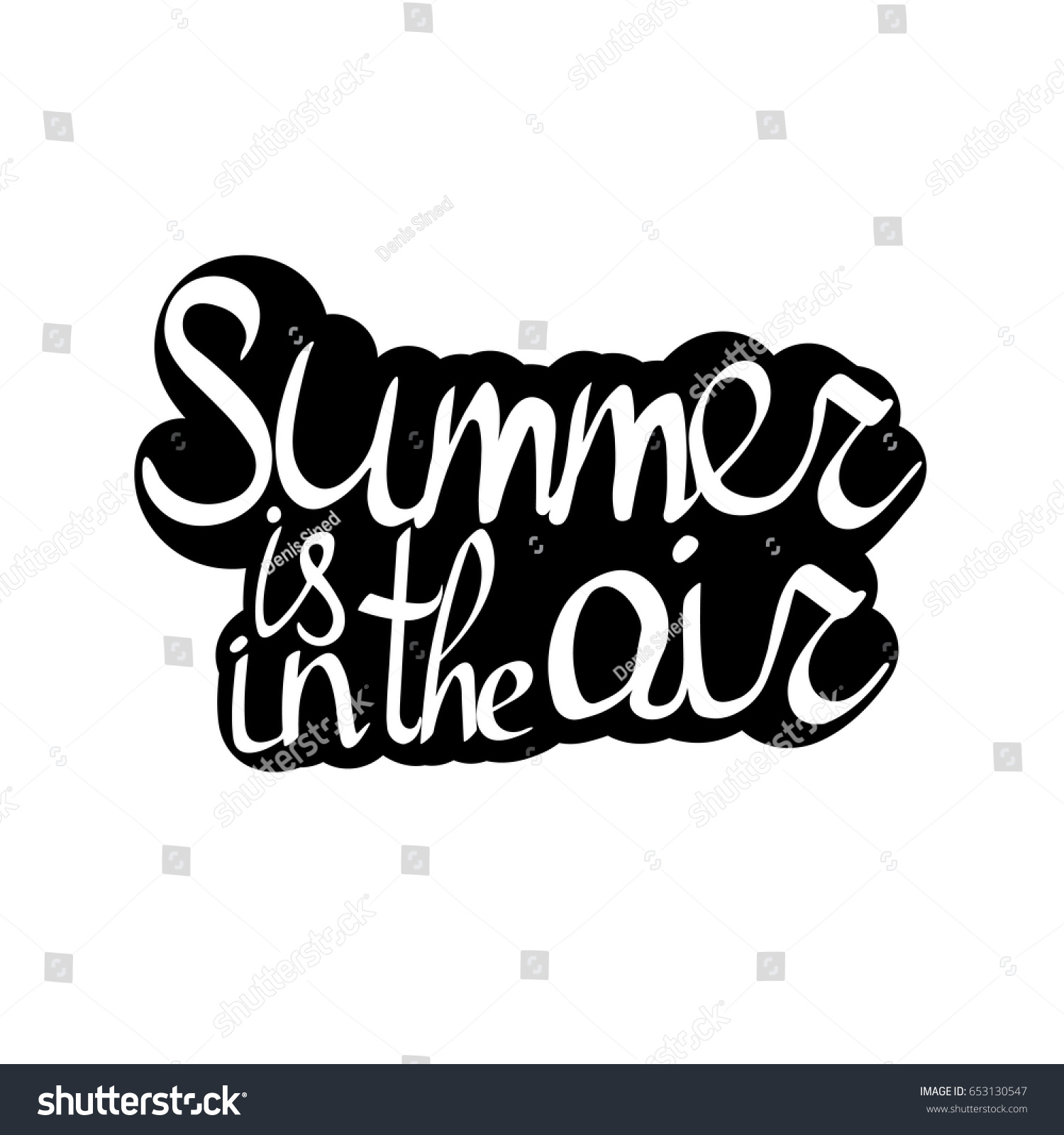 Summer Air Isolated Sticker Calligraphy Lettering Vector de ...