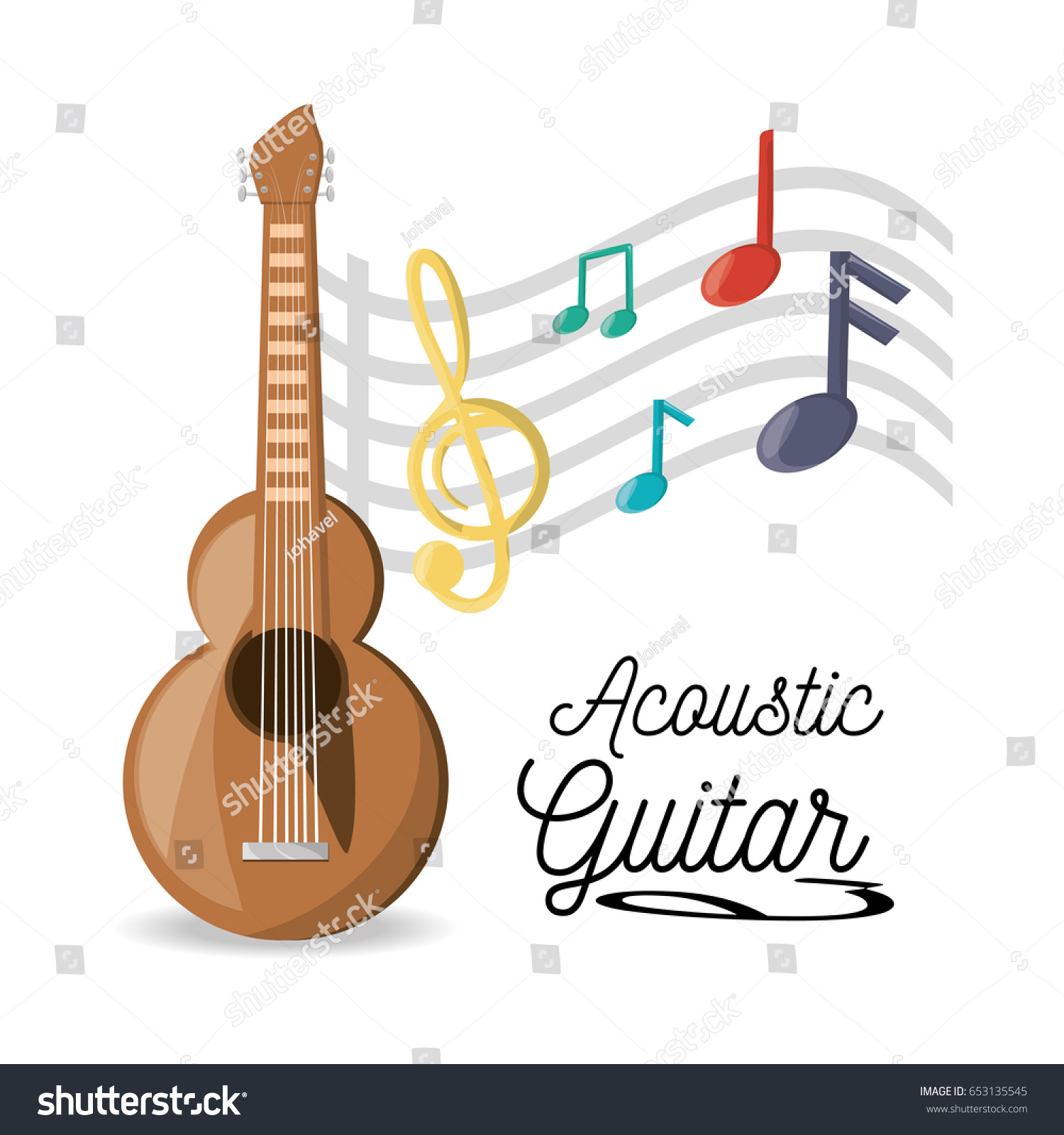 Acoustic Guitar Musical Notes Stock Vector Royalty Free 653135545