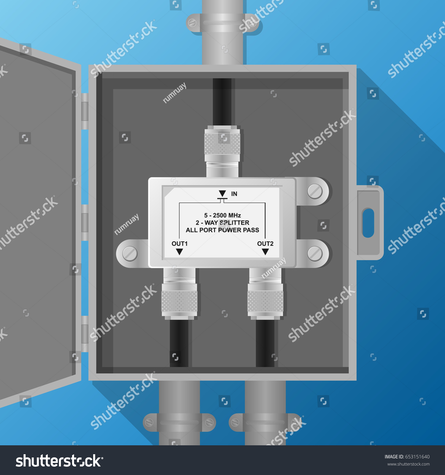 Antenna Signal Splitter Electrical Cabinet Stock Vector Royalty Tv Wiring Diagram In