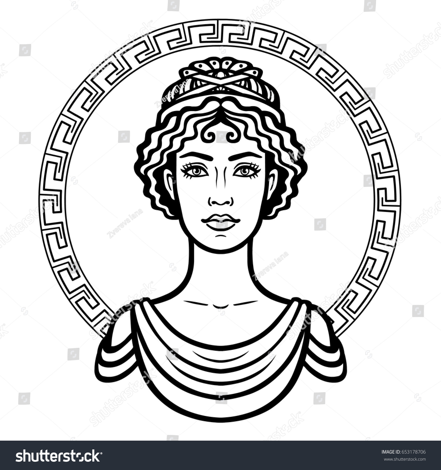 Linear Portrait Young Greek Woman Traditional Stock Vector