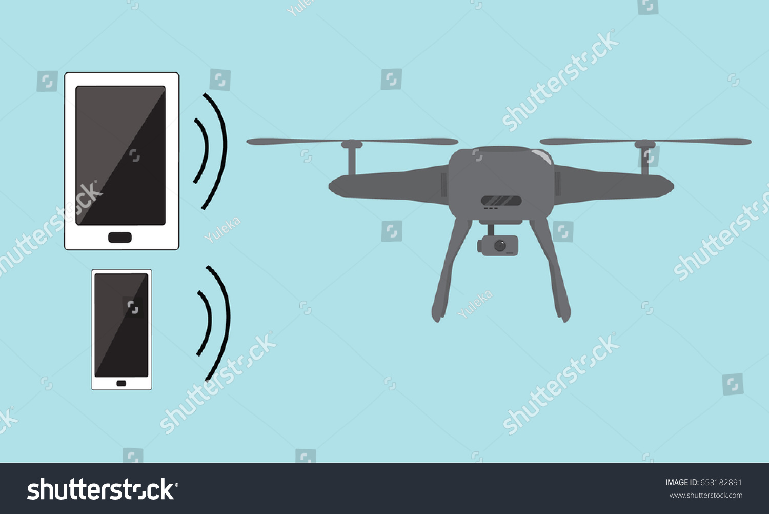 Iot Smart House Air Drone Smart Stock Vector (Royalty Free