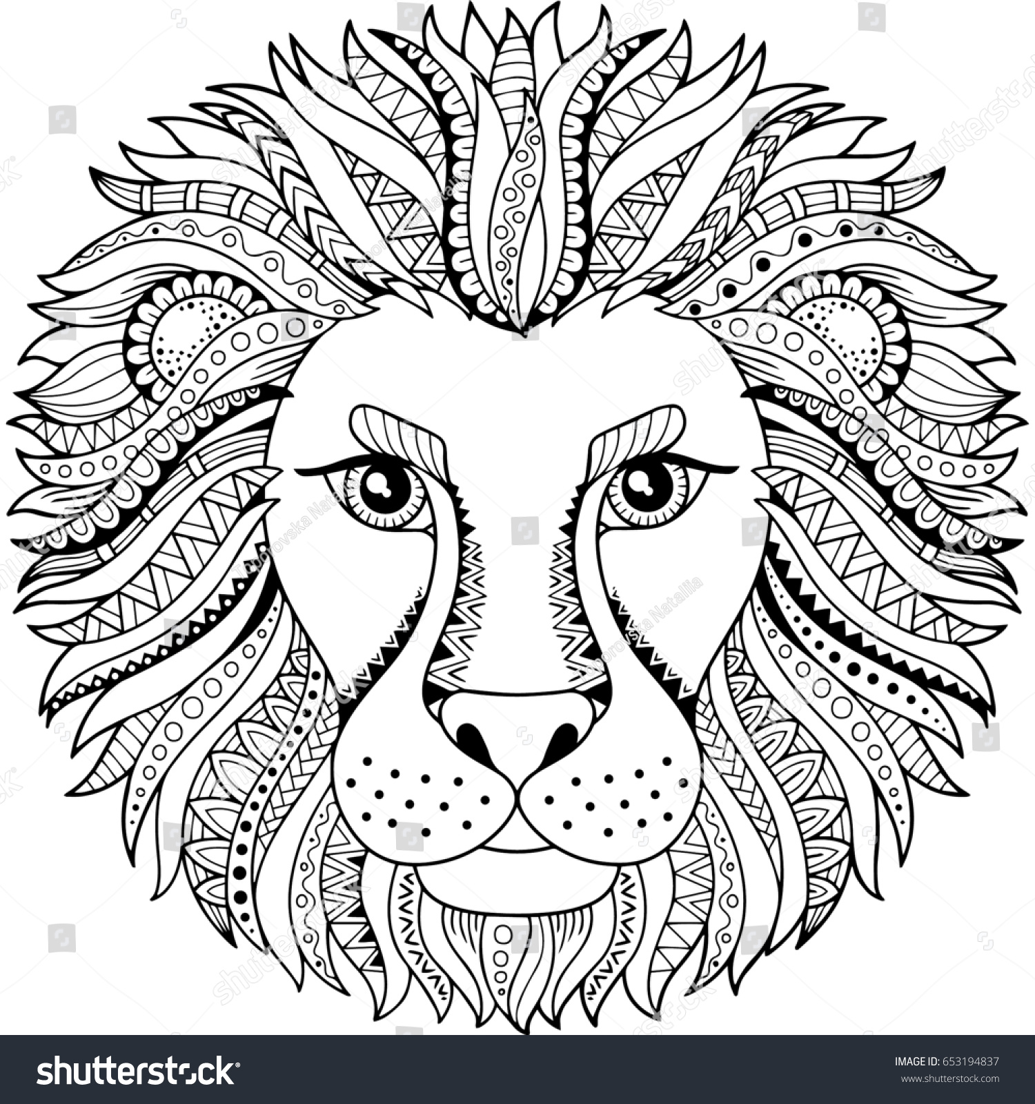 Coloring Book Adult Silhouette Lion Isolated Stock Illustration ...