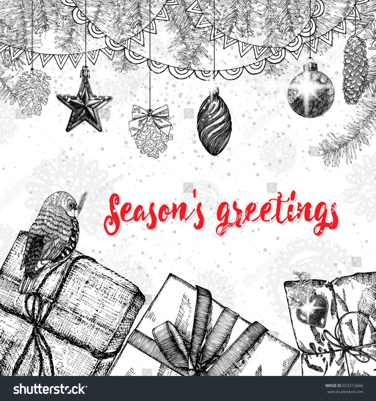 Seasons greetings text design handdrawn typography stock seasons greetings text design handdrawn typography for banner greeting card kristyandbryce Choice Image