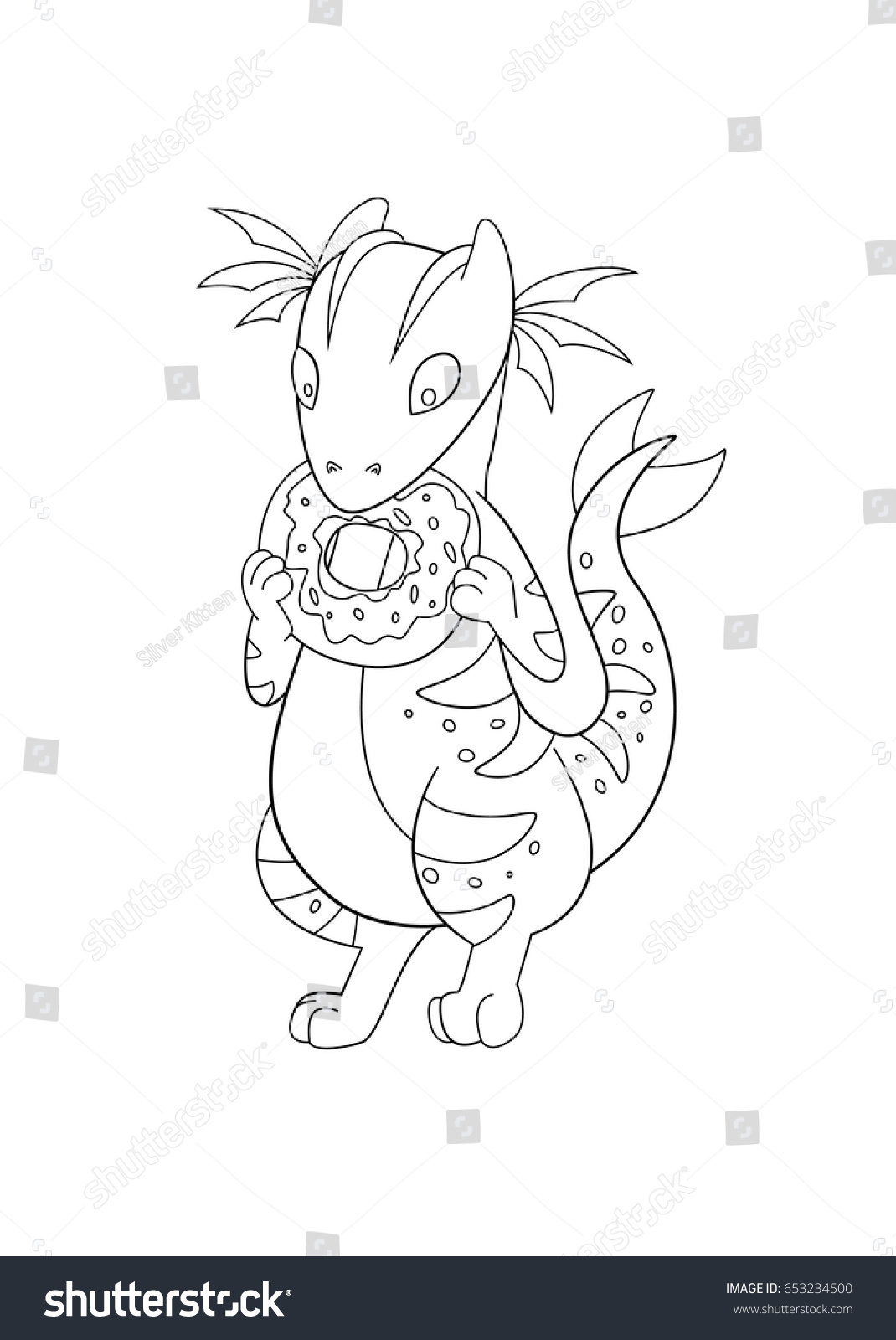 Coloring Book Page Cute Dragon Eating Stock Vector 653234500 ...