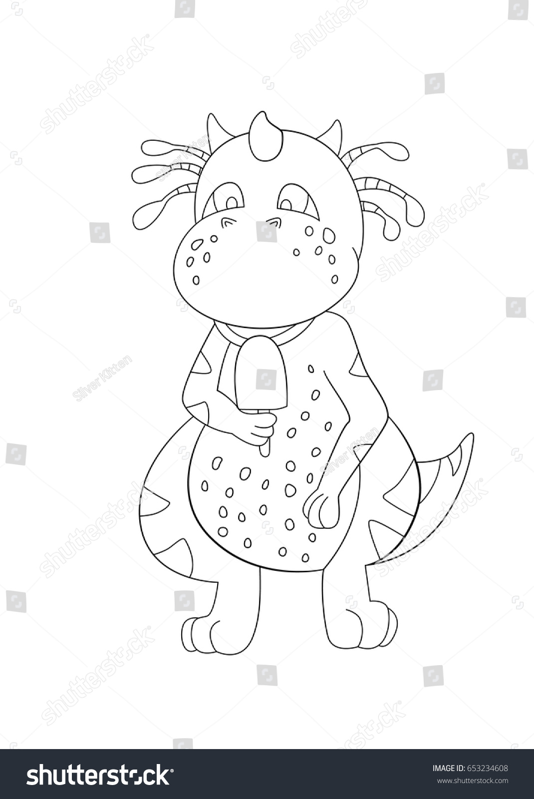coloring page dragon eating ice cream stock vector 653234608