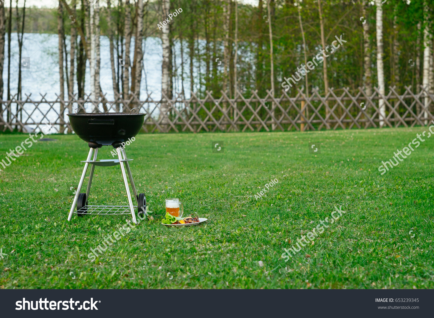 barbecue grill beer grilled vegetables front stock photo 653239345