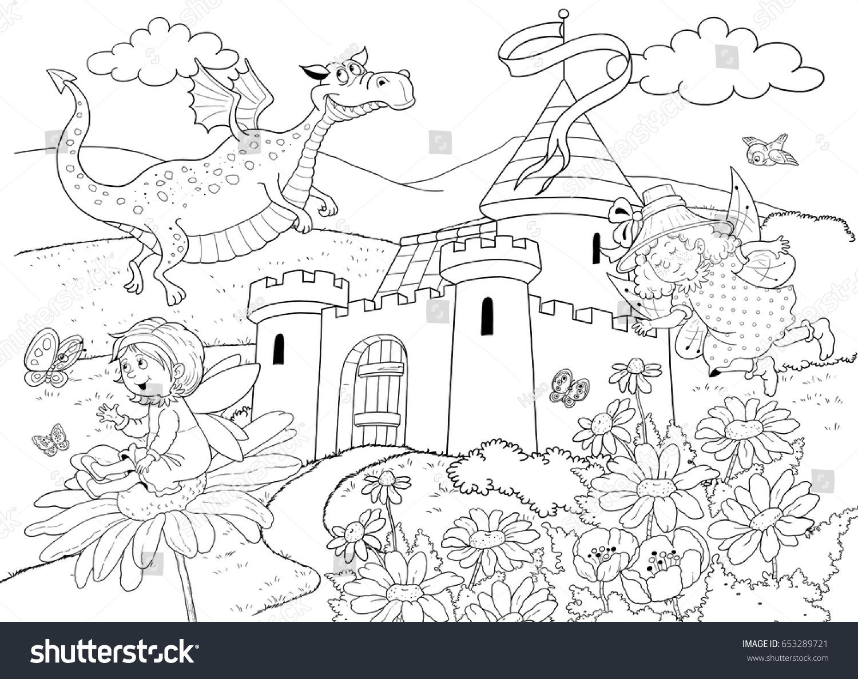 Castle Fairy Tale Characters Cute Fairies Stock Illustration ...