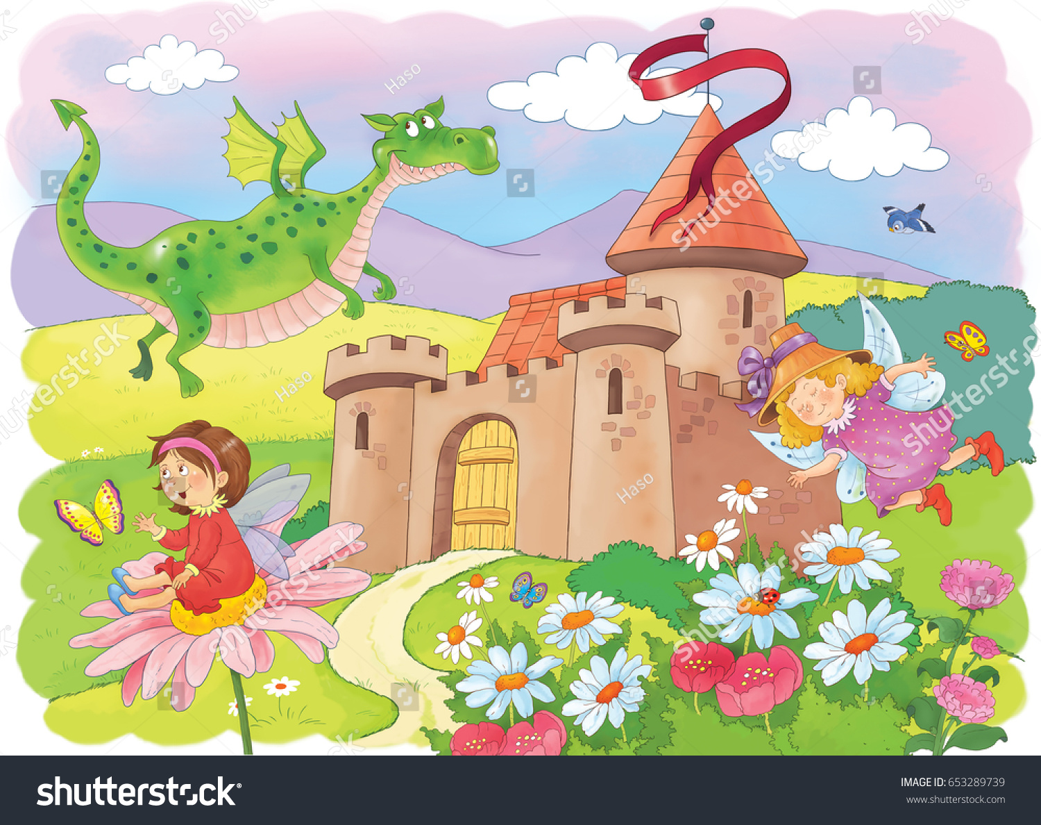 A castle and fairy tale characters. Cute fairies and a dragon ...