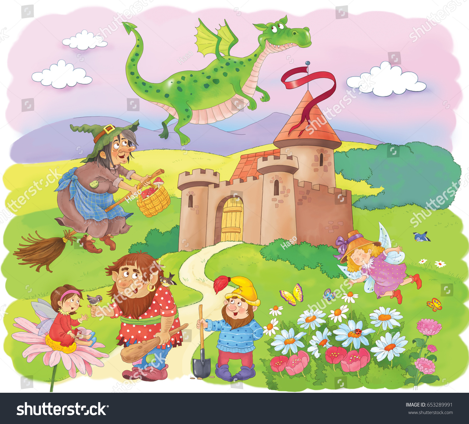 castle fairy tale characters cute witch stock illustration
