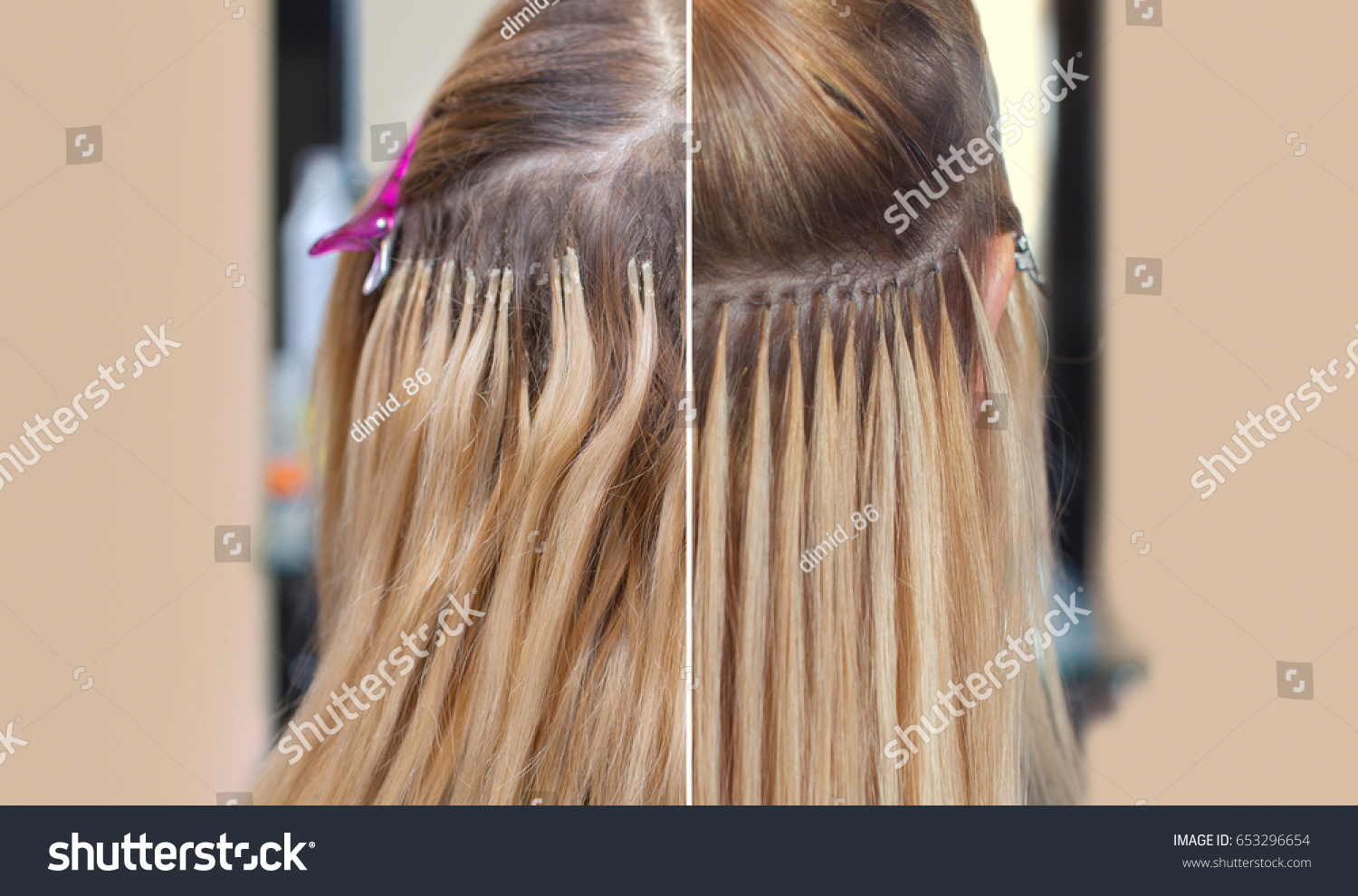 Photo Before After Hair Extensions Young Stock Photo Edit Now