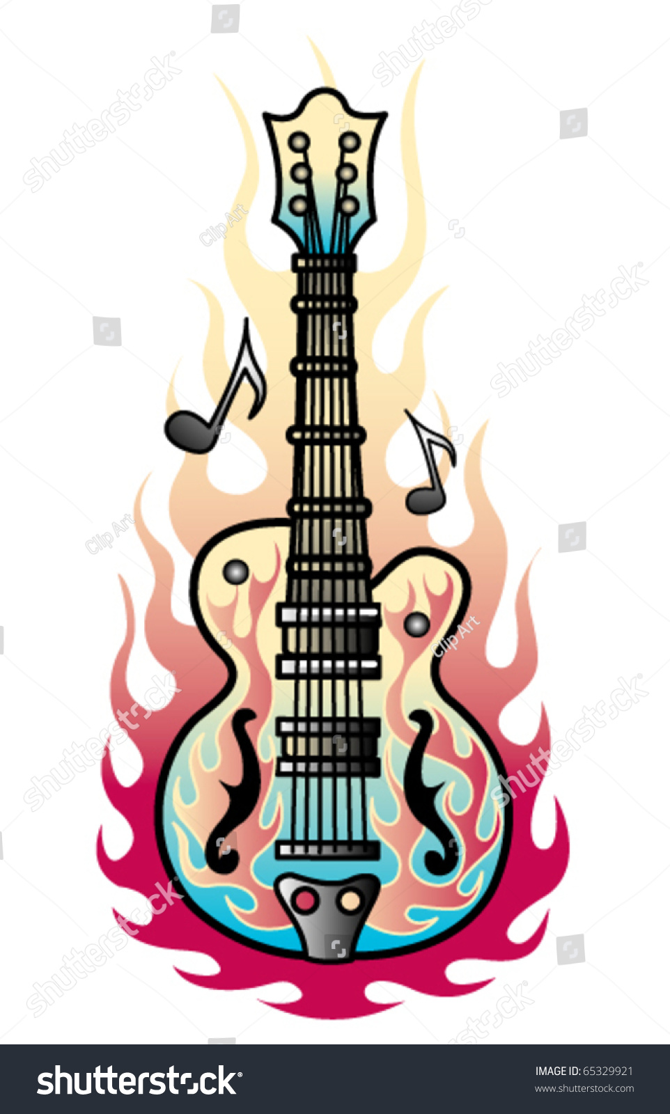 tattoo design rock roll guitar flames stock vector 65329921 shutterstock. Black Bedroom Furniture Sets. Home Design Ideas