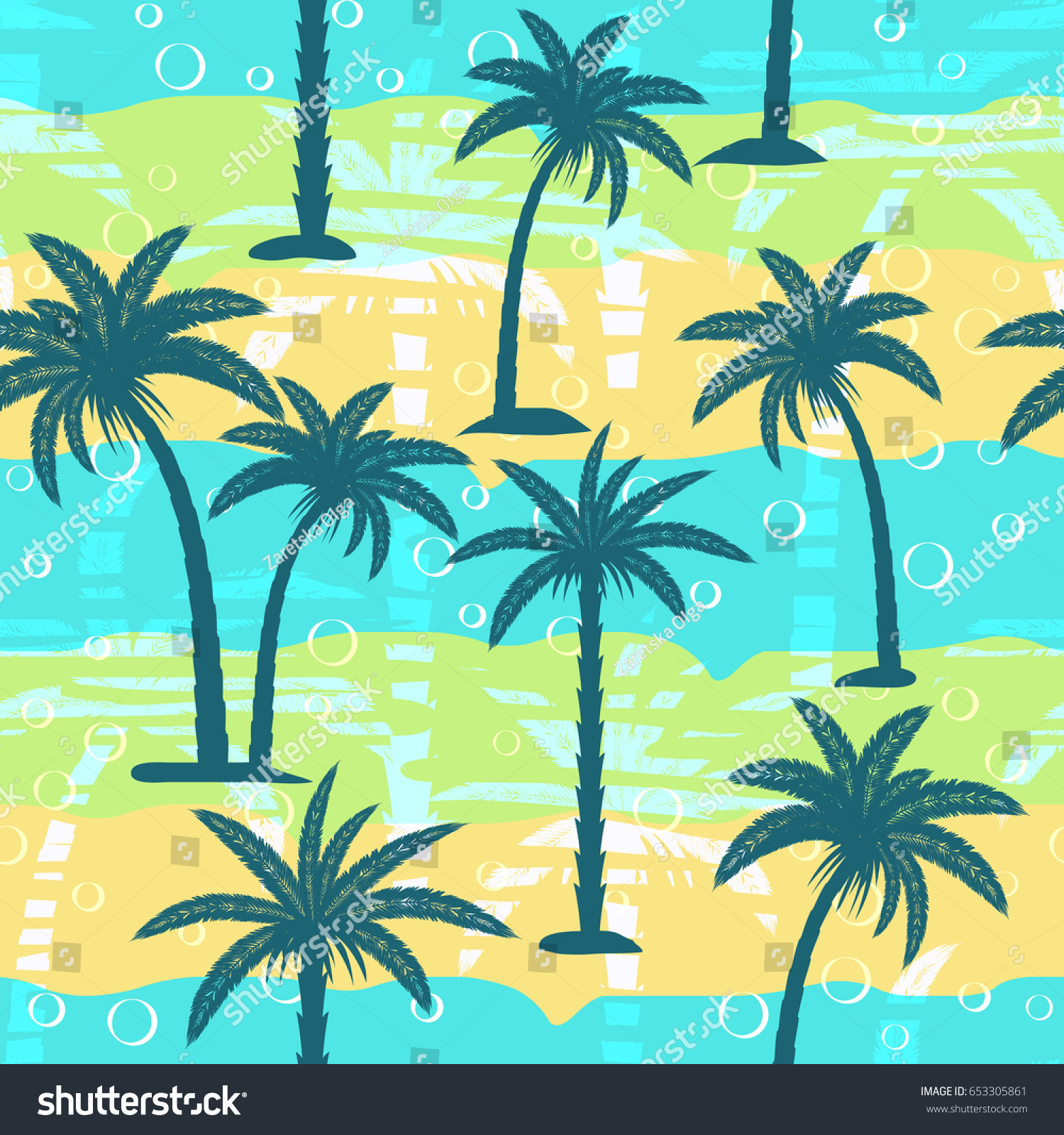 Seamless Pattern Abstract Palm Trees On Stock Vector (Royalty Free ...